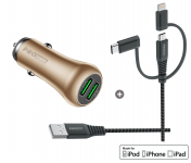 Set: Dual USB Charger 36W QC 3.0 / 3-1 USB Cable (Aluminum Gold)